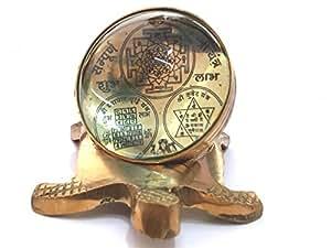 Shri Kuber Yantra And Vyapaar Vridhi Yantra On Back Of Brass Tortoise