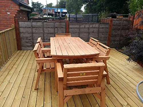 Solid Wooden Garden Furniture Set. 6' Table & 6 Chairs