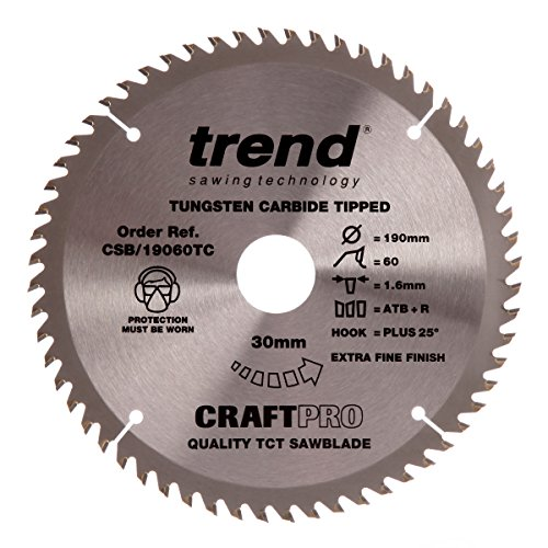 Trend CSB/19060TC Craft Saw Blade 190mm x 60 Teeth x 30 x 1.55 for DCS575, Grey/Black Test