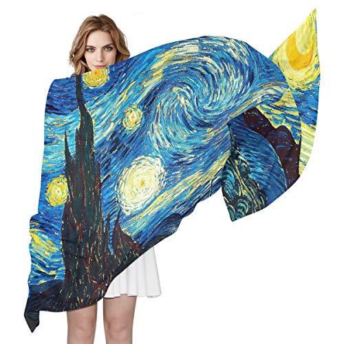 QMIN Seidenschal Van Gogh Sternenhimmel Muster, modisch, lang, leicht, Schal, Tidy Wrap Schal, Muffler für Frauen Mädchen Damen -