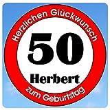 bedrucktes Aluschild 305 x 305 mm - Motiv Geburtstag 50 mit Wunschnamen und Wunschalter