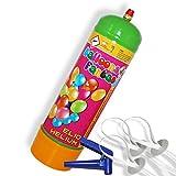 Helium Ballongas Einwegflasche 100 Liter für Ballons Luftballons + 10 Schnellverschlüsse von Haus der Herzen®