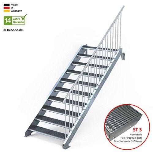 Außentreppe 10 Stufen 110 cm Laufbreite – einseitiges Geländer rechts - Anstellhöhe variabel von 166 cm bis 200 - Gitterroststufe ST3 - feuerverzinkte Stahltreppe mit 1100 mm Stufenlänge als montagefertiger Bausatz