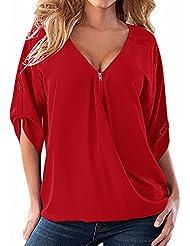 ZANZEA Mujeres Camiseta Blusa Casual Elegante Oficina Cuello V Cremallera Mangas Largas 3/4 Botón