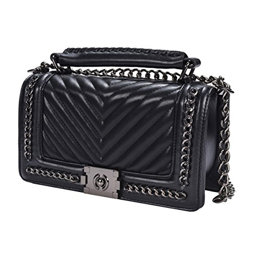 TOYU S Lady Klassisches Quilted Leder Handtasche Frauen Karriere OL Kette Tasche Umhaengetasche Mode-Strasse Damentaschen (V Quilted) (Elementen Womens Klassischen)
