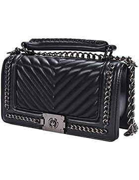TOYU S Lady Klassisches Quilted Leder Handtasche Frauen Karriere OL Kette Tasche Umhaengetasche Mode-Strasse Damentaschen