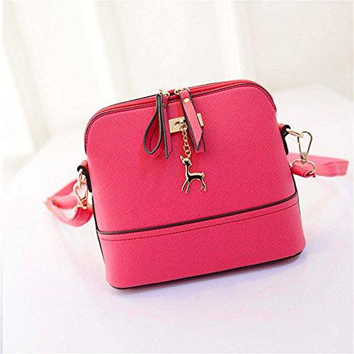 Longra Nuovo Donne Messenger Borse Vintage Piccolo Shell borsetta di pelle casual Borsa Rosa