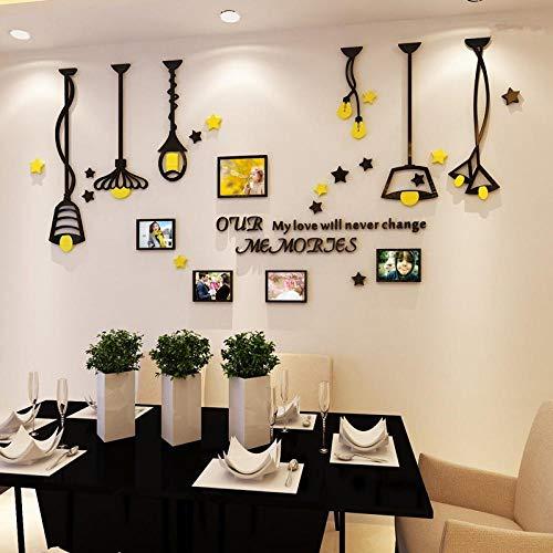 ZYCTSUI Wandtattoo Fotorahmen 3D Acryl Chic Design Stammbaum Bilderrahmen Collage Brief pastoralen Inneneinrichtungen schlafzimmer wohnzimmer wand ornament@109cm by 200cm_black yellow