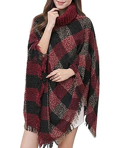 MUXILOVE Damen Poncho Pullover Gestrickt Umhang Sweater Top Winter Strickpullover Rollkragen gefalteter