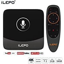 Box TV iLepo Android 7.1 4K 2GO RAM 16GO ROM Amlogic Quad Core lecture en 1080P/HD H.265 4K2K A53 en 64bits avec un contrôleur vocal à distance 2,4 GhZ