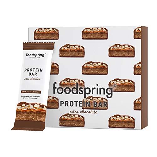 foodspring Protein Bar Extra Schokolade, Double Chocolate Cashew, 12-Paket, Echter Schoko-Riegel, Aber 95% weniger Zucker