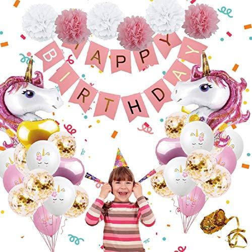 Einhorn Luftballons Birthday Party Dekorationen - Birthday Party Supplies Kit, enthalten Pink Happy Birthday Banner, Pink & Gold Herz Luftballons, Papier Pom Poms für Baby-Dusche-Dekorationen (Rosa)