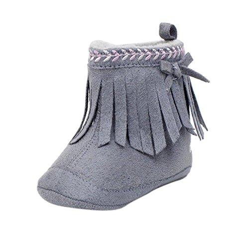 Jamicy® Kleinkind Mädchen Winter Schuhe Mode weiche Sohle Prewalker Quaste Winterstiefel Grau SHbtdNX