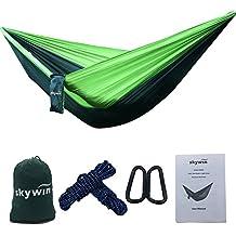 Skywin camping hamaca ligero portátil Nylon Hamaca Caso pantalla doble hamaca para viajar, camping, senderismo, playa, Hofmeister, verde