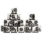 Papierdrachen DIY Adventskalender Kisten Set - Motiv Rehe in Schwarzweiß - 24 Bunte Schachteln aus Karton zum Aufstellen und zum Befüllen - 24 Boxen - Weihnachten 2018