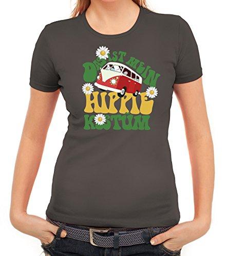 Fasching Karneval Damen T-Shirt mit Das ist mein Hippie Kostüm Motiv von ShirtStreet Dunkelgrau