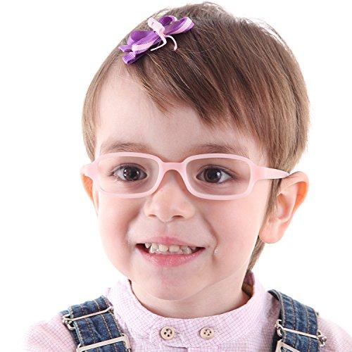EnzoDate Kinder optische Brillengestell mit Gurt, Safe biegsam Größe 43/16 (Rosa)