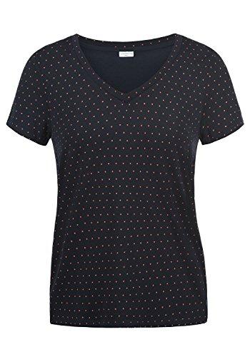 Jaqueline De Yong by Only Leonie Damen T-Shirt Kurzarm Shirt mit Rundhalsausschnitt, Größe:XL, Farbe:Sky Captain/Dots High Risk Red
