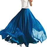 LAEMILIA Damen Lang Chiffon Kleid Rock Retro Vintage Double-Layer Gefaltet Strand (Blau)