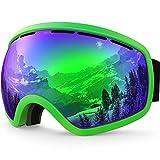 ZIONOR Lagopus X10 Telaio / Senza Cornice Snowboard Occhiali da Sci con Staccabile Lente 100% Protezione UV400 Anti Nebbia Casco Compatibile Fix-point Anti-scivolo Cinghia Tecnologia