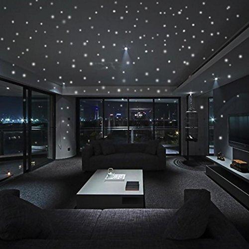 Fuibo Kind Raum Dekor Glühen in den dunklen Stern-Wand-Aufkleber 407Pcs runder Punkt-leuchtendes (Glühen In Den Dunklen Sternen)