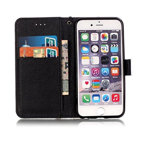 A9H PU Leder Tasche Schutzhülle für iPhone 6 Plus, iPhone 6s Plus Hülle Wallet Cover Flip Case Muster Ledertasche Handyhülle Leder Schutz Hülle Etui Schale mit Stand Kredit Kartenfächer-04HUA 3HUA