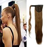 S-noilite® Haarteil Zopf Pferdeschwanz Glatt Haarverlängerung 58cm natürlich Wrap on Ponytail div. Farben (58cm ,Hellbraun)