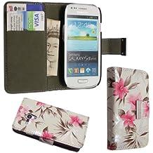 Gadget Boxx - Funda con tapa para Samsung Galaxy S3 Mini i8190 (función atril, piel sintética) diseño de flores, color rosa y blanco