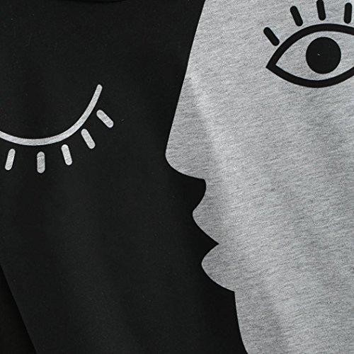 Sweats à capuche Femmes, Quistal Femmes Dames Sweat À Capuche À Manches Longues Crop Patchwork Blouse Tops Big Eye Modèle Gris