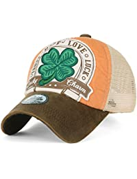 ililily Four Leaf Clover Patch Faux Leather Brim Trucker Hat Baseball Cap