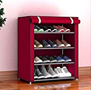 Aysis Multipurpose Portable Folding Shoes Rack 4 Tiers Multi-Purpose Shoe Storage Organizer Cabinet Tower with