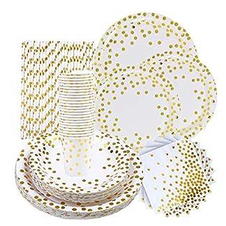 VAINECHAY 146pcs Vajilla Desechable Cumpleaños Adulto Platos Desechables Fiesta Infantil Vasos de Papel Servilletas Pajitas para Navidad Boda Baby Shower Aniversario Oro 24 invitados