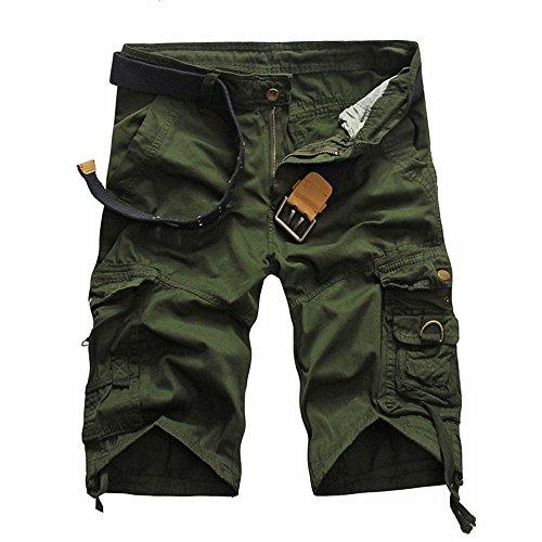 Bellelove Shorts Herren Reißverschlusstaschen Pure Farbe Draußen Strand Beiläufig Arbeit Cargo Hose -