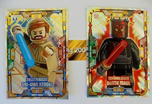 2 Karten Lego Star Wars Trading Card Serie 1 - LE 2 Zielstrebiger Obi Wan Kenobi und LE 12 Gefährlicher Darth Maul und bmg2000 Goldstickeraufkleber
