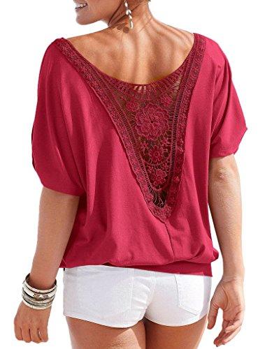 Smile YKK Blouse Sexy Femme Coton Chemisier Dentelle Col Rond T-shirt à Fleur Grande Taille Rouge