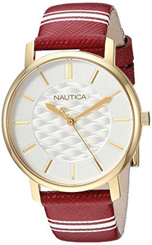 Nautica Femme 'Coral Gables' à Quartz en Acier Inoxydable et Nylon décontracté Montre, Couleur: Rouge (modèle: Napcgs003)