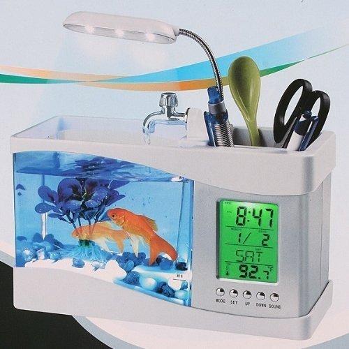 OEM Neutral Mini USB LCD Desktop Lampe Licht Fisch Tank Aquarium Led Uhr (weiß) Geschenk