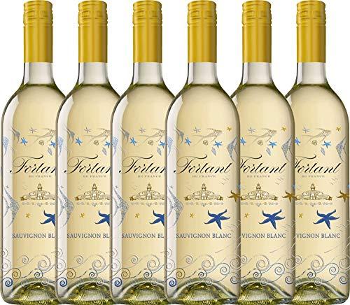 VINELLO 6er Weinpaket Weißwein - Sauvignon Blanc serigrafiert 2018 - Fortant de France mit Weinausgießer   halbtrockener Weißwein   französischer Sommerwein aus Languedoc   6 x 0,75 Liter