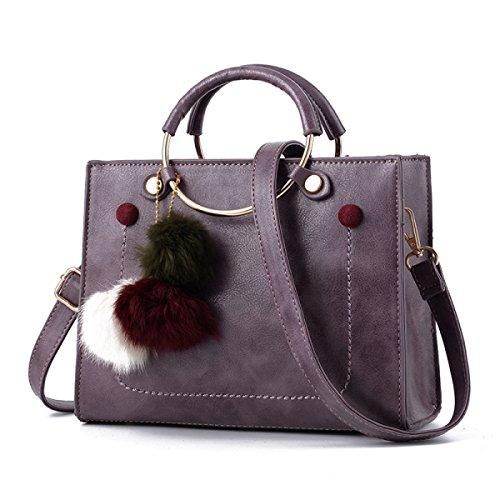 ZPFME Womens Tote Handbag Retro Borsa Da Donna Elegante Shopper Pelle Party Retro Banchetto Zaino Purple