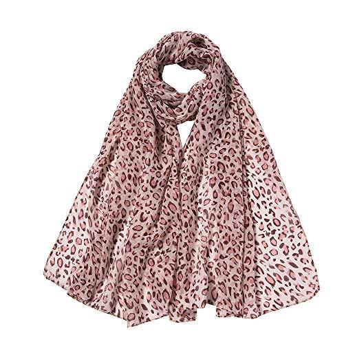 (POPLY Schal, Mode Frauen Elegante Damen Leopard Druck Lange Weiche Chiffon Wrap Strand Dating Urlaub Reisen Stil Lange Schals 160x50cm)