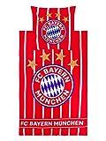 FC Bayern München Bettwäsche, Bettbezug für Bettdecke und Kissen, rot/weiß gestreift, 135x200cm