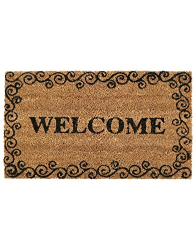 SWHF Coir and Rubber Door Mat:60X35 Cm,Welcome Print, Virgin Rubberized backing and Extremely Durable