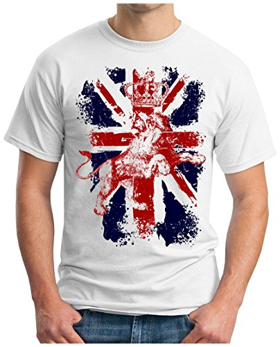OM3® - Great Britain Lion - T-Shirt Union Jack Vintage GB Commonwealth England GBP Windsor Westminster, L, Weiß