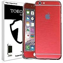 Metal pulido Full Body Skin adhesivo Vinilo de aluminio para para iPhone, polvo–resistente al agua–oilproof y huellas evitar, rojo, for iPhone 6 Plus/6S Plus