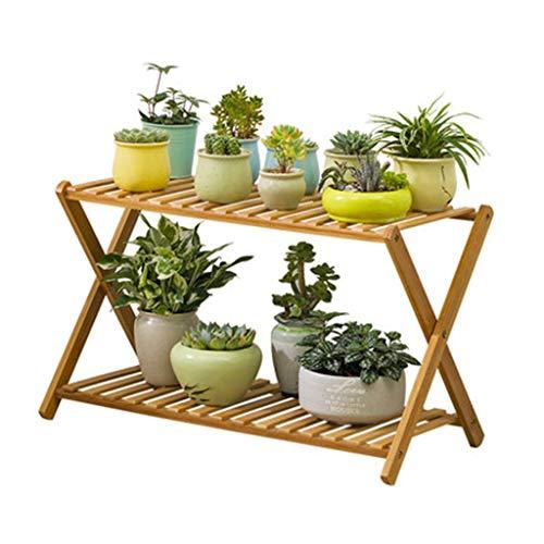 Ablagegestelle YCDJCS Blumenständer Bamboo Home Mehrschicht-Balkonregal Pflanzenständer Rundes Wohnzimmer (Color : Brown, Size : 70 * 30 * 48cm)