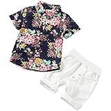 Outtop(TM) 2Pcs Clothes Sets Summer Flowers Print Tops+Shorts Outfits Clothes Suits 6M(3~6months) Blue