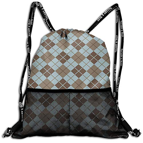 RAINNY Drawstring Backpacks Bags,Argyle Pattern with Diamond Shaped Rectangles Lines Abstract Geometric,5 Liter Capacity,Adjustable -