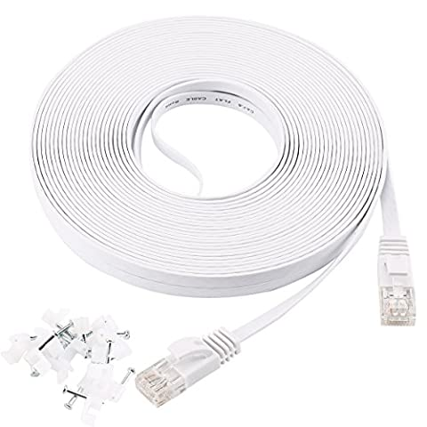 Cat 6 Ethernet Cable 30M Flat White with 20 cable clips,Jadaol® Network Cable Cat6 Flat Ethernet Patch Cable,Internet Cable with Rj45 Connectors-100 Feet