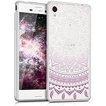 kwmobile Funda para Sony Xperia M4 Aqua - Case para móvil en TPU silicona - Cover trasero Diseño sol indio en violeta blanco transparente