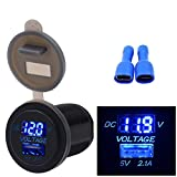 TopTen Fan-Motive USB-Ladegerät 2.1A + LED Digital Spannung Voltmeter Sockel Panel für Auto Motorrad Boot Marine Mobile, blau, 3.7cm x 5.4cm